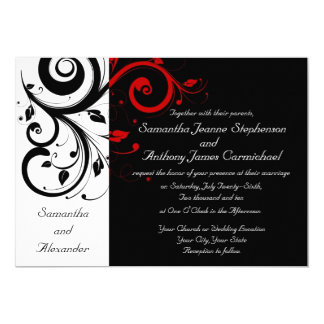 Black/White/Red Reverse Swirl Wedding Invitations Nice Look