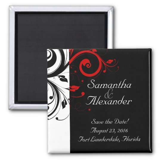 Black, White, Red Reverse Swirl Wedding Magnets II