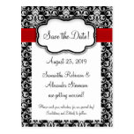 Black/White/Red Ribbon Damask Save the Date Postcard