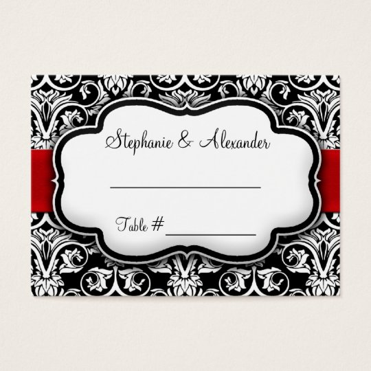 Black/White/Red Ribbon Damask Wedding Business Card