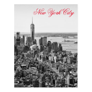 Black White Red Script New York City Manhattan Postcard