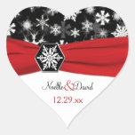 Black, White, Red Snowflakes Wedding Sticker
