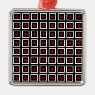 Black, White Red Square Circle Dot Modern Pattern Christmas Ornament