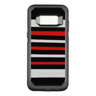 Black White Red Stripes Cool Simple Patterns OtterBox Commuter Samsung Galaxy S8 Case
