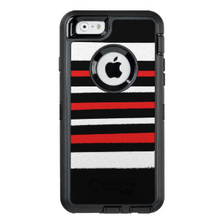 Black White Red Stripes Cool Simple Patterns OtterBox iPhone 6/6s Case