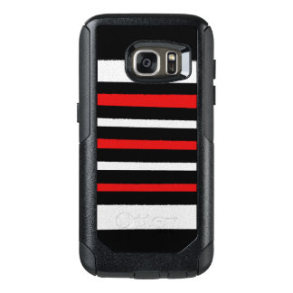 Black White Red Stripes Cool Simple Patterns OtterBox Samsung Galaxy S7 Case