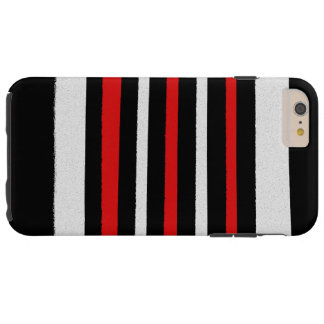 Black White Red Stripes Cool Simple Patterns Tough iPhone 6 Plus Case