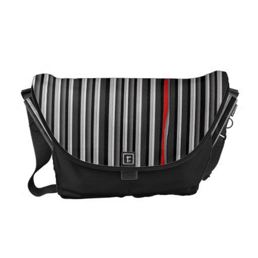 Black, White, & red Stripes Messenger Commuter Bag