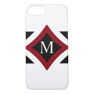 Black, White & Red Stylish Diamond Shaped Monogram iPhone 8/7 Case