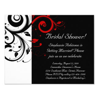 "Black, White, Red Swirl Bridal Shower / General 4.25"" X 5.5"" Invitation Card"