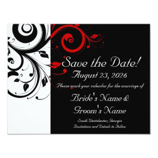 "Black, White, Red Swirl Wedding Save the Date 4.25"" X 5.5"" Invitation Card"