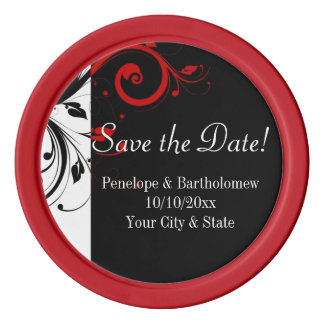 Black, White, Red Swirl Wedding Save the Date Poker Chips