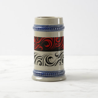 Black White Red Swirly Abstract Design Beer Stein