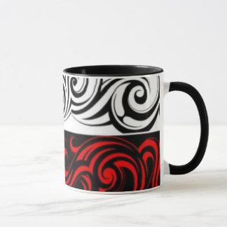 Black White Red Swirly Abstract Design Mug