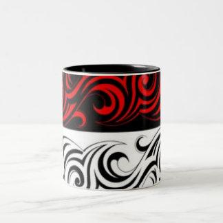 Black White Red Swirly Abstract Design Two-Tone Coffee Mug