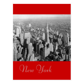 Black & White Red Vintage New York City Postcard