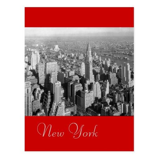 Black & White Red Vintage New York City Postcard