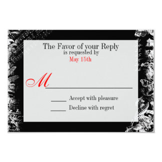 Black White Red Vintage Print Wedding RSVP Card 9 Cm X 13 Cm Invitation Card