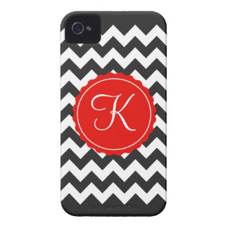 Black, White & Red Zig Zag Custom Initial Case-Mate iPhone 4 Case
