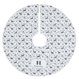 Black & White Reindeer Pattern Monogram Brushed Polyester Tree Skirt