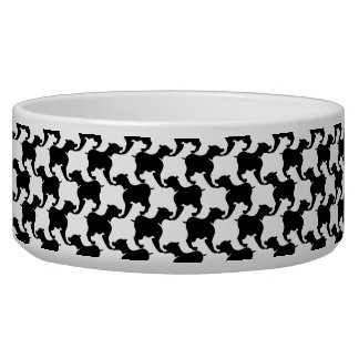 Black White repeating Silhouette Dog Bowl