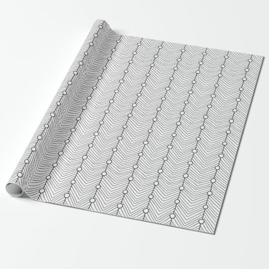 Black & White Retro Abstract Print Wrapping Paper