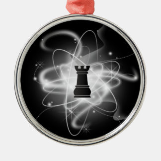 Black & White Retro Atomic Chess Piece - Rook Christmas Ornament