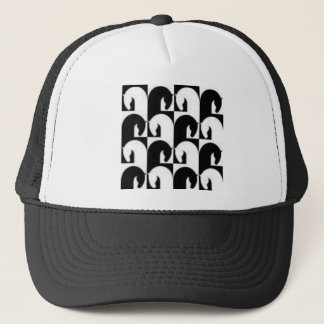 Black White Retro Chess Horses Design Trucker Hat