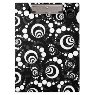 Black White Retro Crop Circle Clipboards