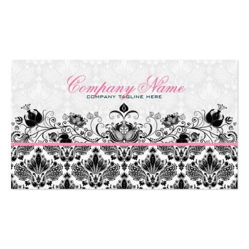 Black & White Retro Floral Damasks Pattern Business Cards