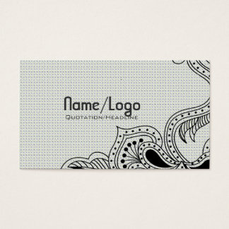 Black & White Retro Flower Design-Template Business Card