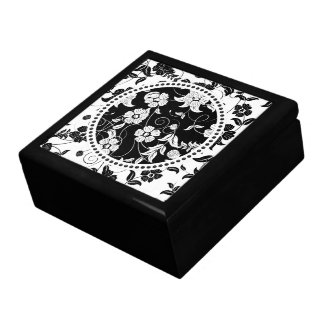 Black & White Retro Flowers & Swirls 2 Gift Box