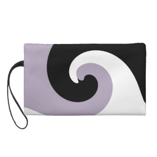 Black White Retro Funky Painting Abstract Art Wristlet Clutch