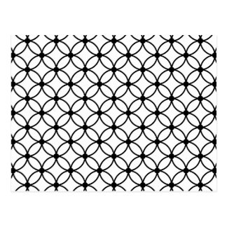 Black & White Retro Geometric Abstract Pattern Postcard