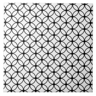 Black & White Retro Geometric Abstract Pattern Tile