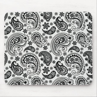 Black & White Retro Ornate Paisley Pattern Design Mouse Pad