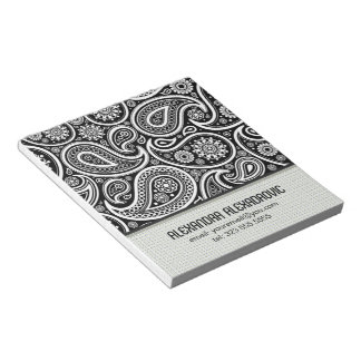 Black & White Retro Paisley Pattern 2-Custom Text Notepad