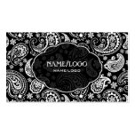 Black & White Retro Paisley Pattern 3 Design Pack Of Standard Business Cards