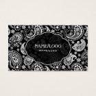 Black & White Retro Paisley Pattern 3 Design Business Card