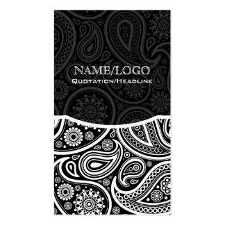 Black & White Retro Paisley Pattern Business Card Templates