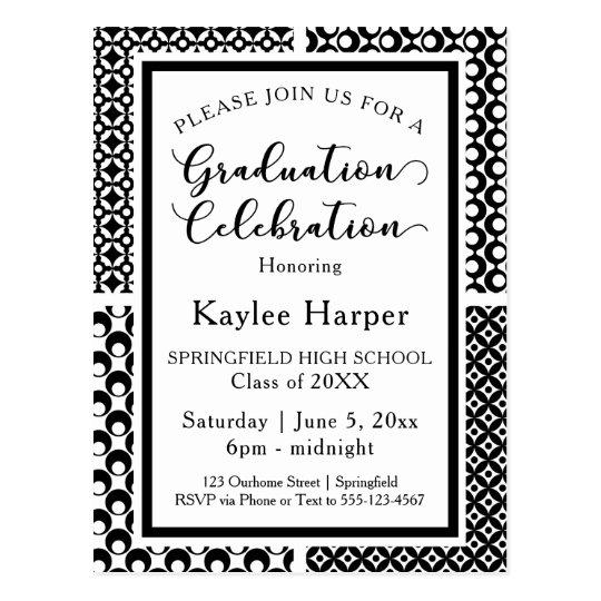 Black & White Retro Patterns Graduation Party Postcard