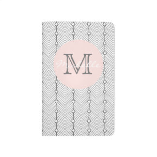 Black & White Retro Print Monogram Pocket journal