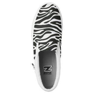 Black&White retro Zebra pattern print Slip On Shoes