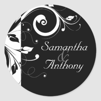 Black + White Reverse Swirl Matching Envelope Seal Round Sticker