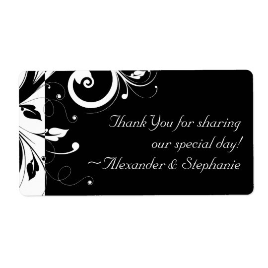 Black +White Reverse Swirl Wedding Favour Label
