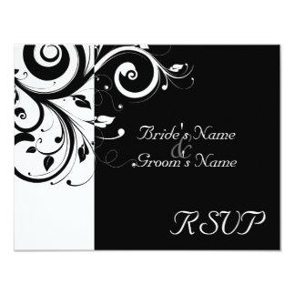 Black +White Reverse Swirl Wedding Matching RSVP Card