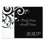 Black +White Reverse Swirl Wedding Matching RSVP 11 Cm X 14 Cm Invitation Card