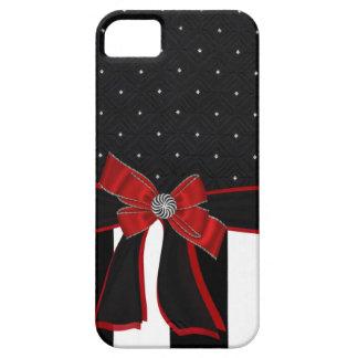 Black & White Rhinestone and Bow Iphone Case iPhone 5 Covers