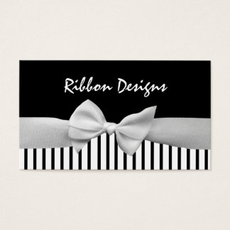 Black & white ribbon bow and stripes business card