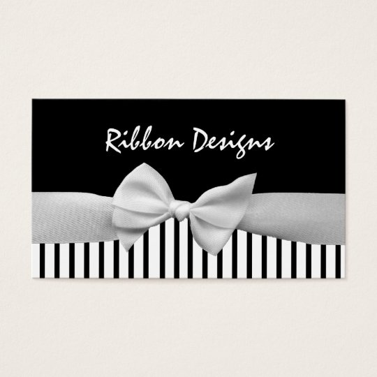 Black & white ribbon bow and stripes business